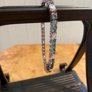 Sterling Silver Blue + White Topaz Line Bracelet
